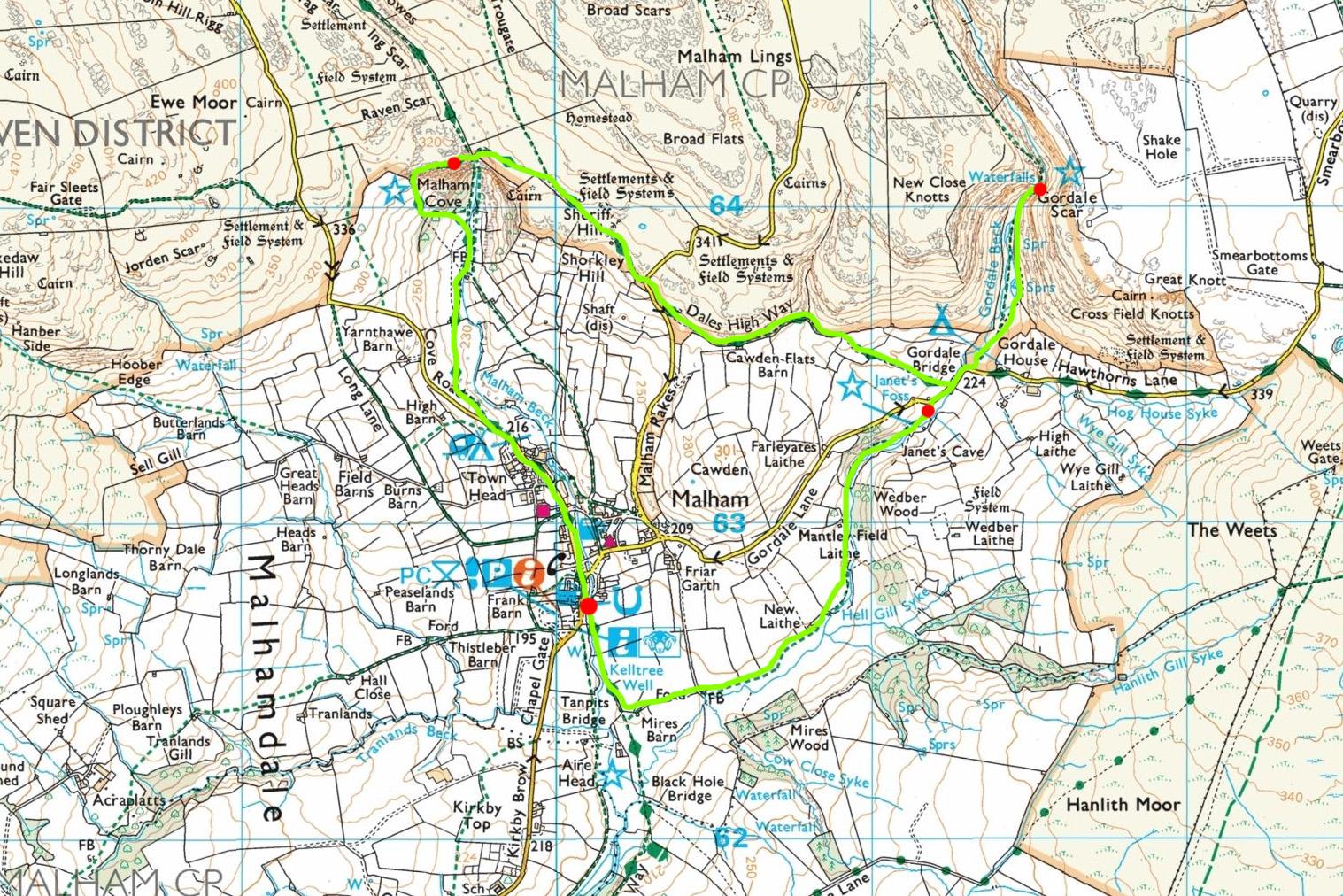 mapa Malham wedrówka