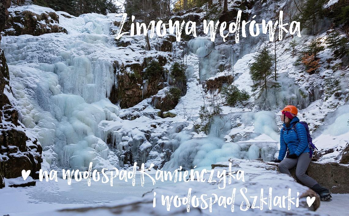 Zimowa wędrówka na wodospad Kamieńczyka i wodospad Szklarki, Karkonosze, Polska www.katiraf.com