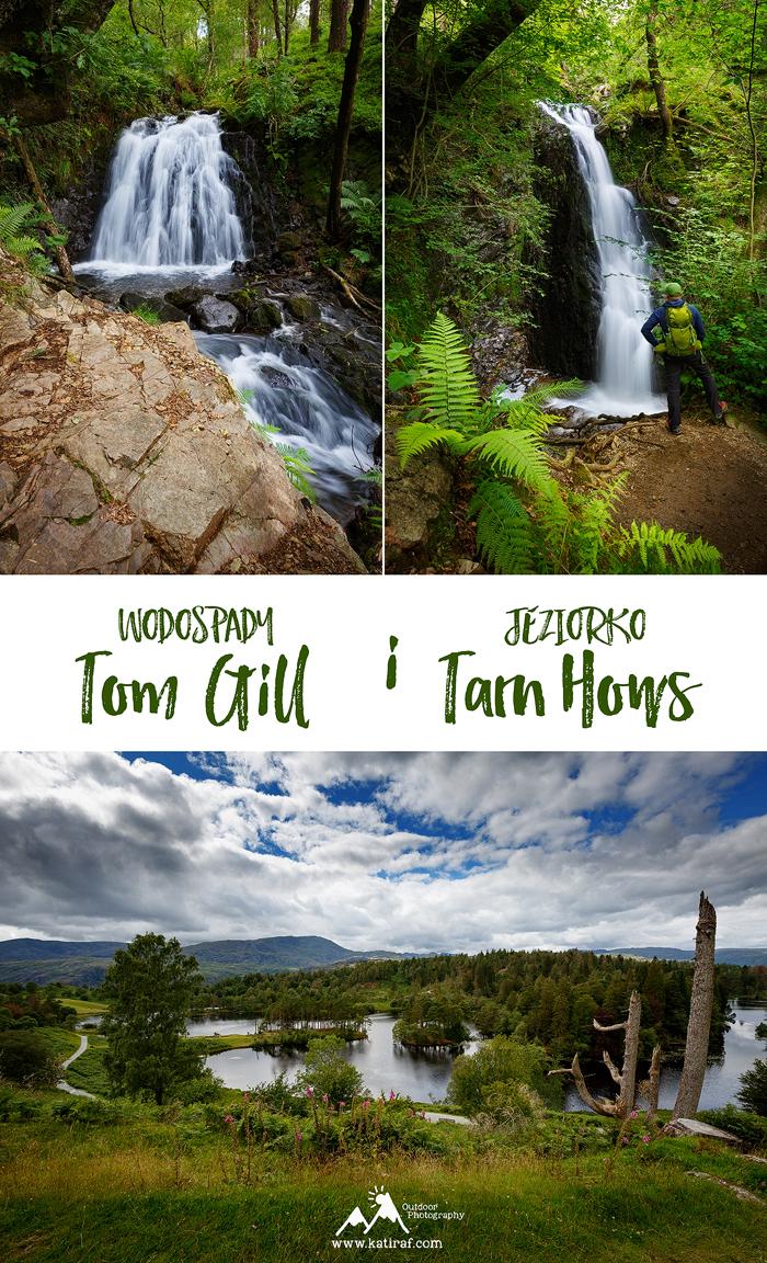 Wodospad Tom Gill Waterfall i jeziorko Tarn Hows